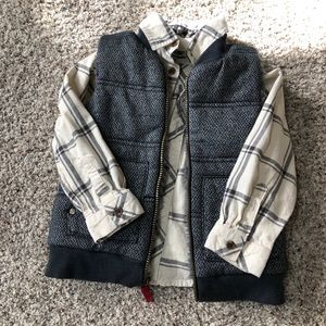 Boys Oshkosh vest and flannel shirt
